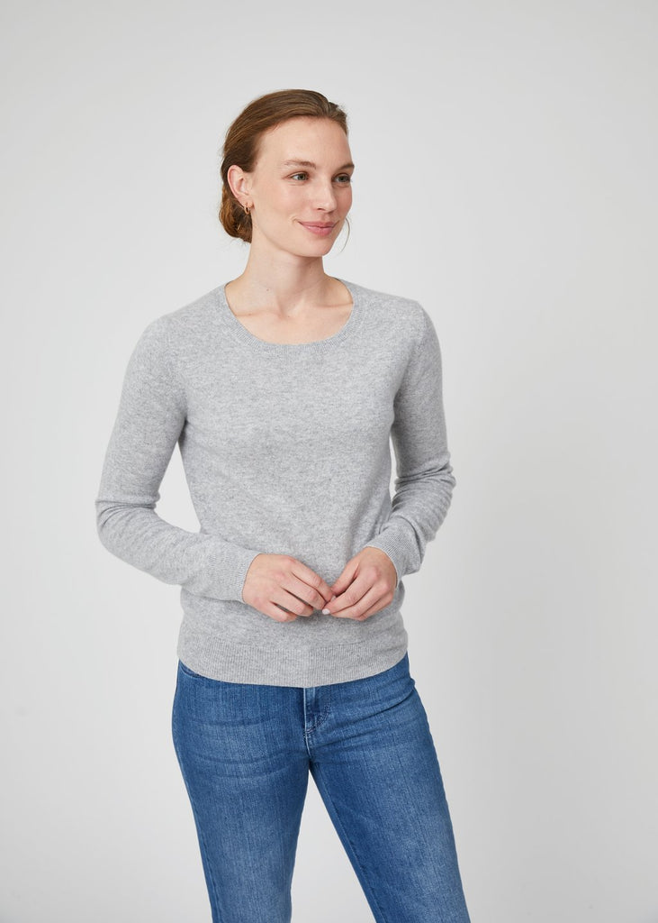 Ella Crew Neck Cashmere Sweater Grey