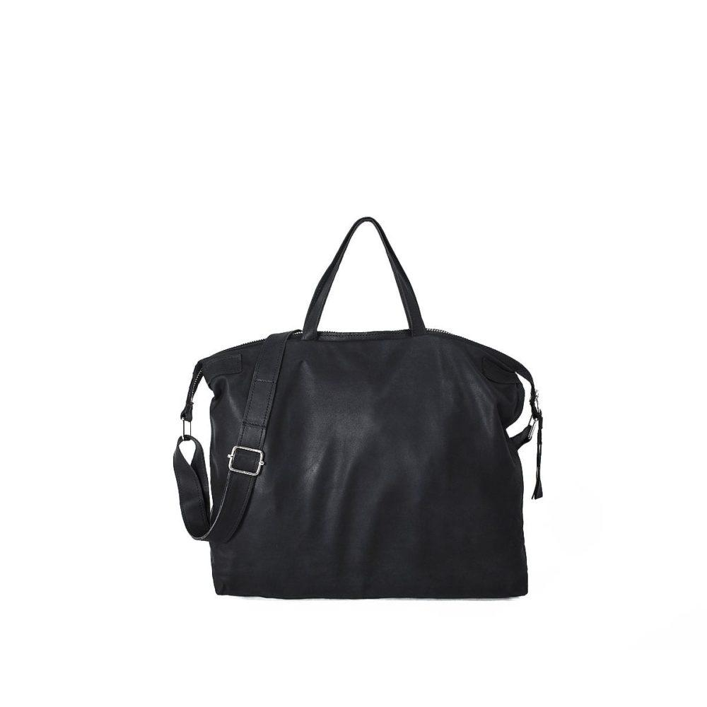 East-West Bag in Black Leather by Lumi
