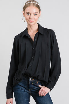 Black Draped Dress Shirt