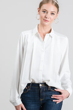 Ivory Draped Dress Shirt