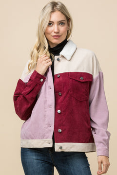 Corduroy Color-Block Jacket