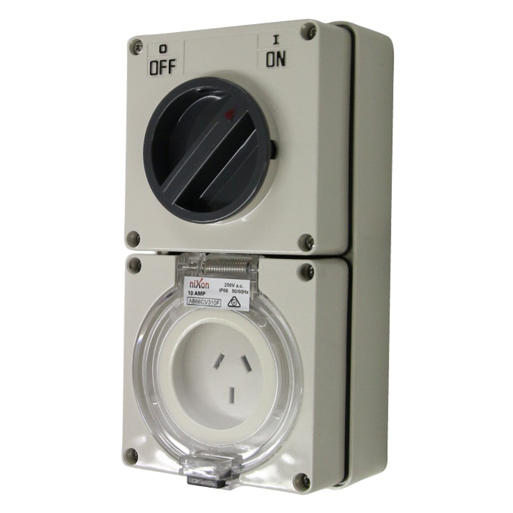 3PIN 10AMP - Combination Switched Socket Outlet - FLAT PINS