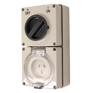3PIN 15AMP - Combination Switched Socket Outlet - FLAT PINS