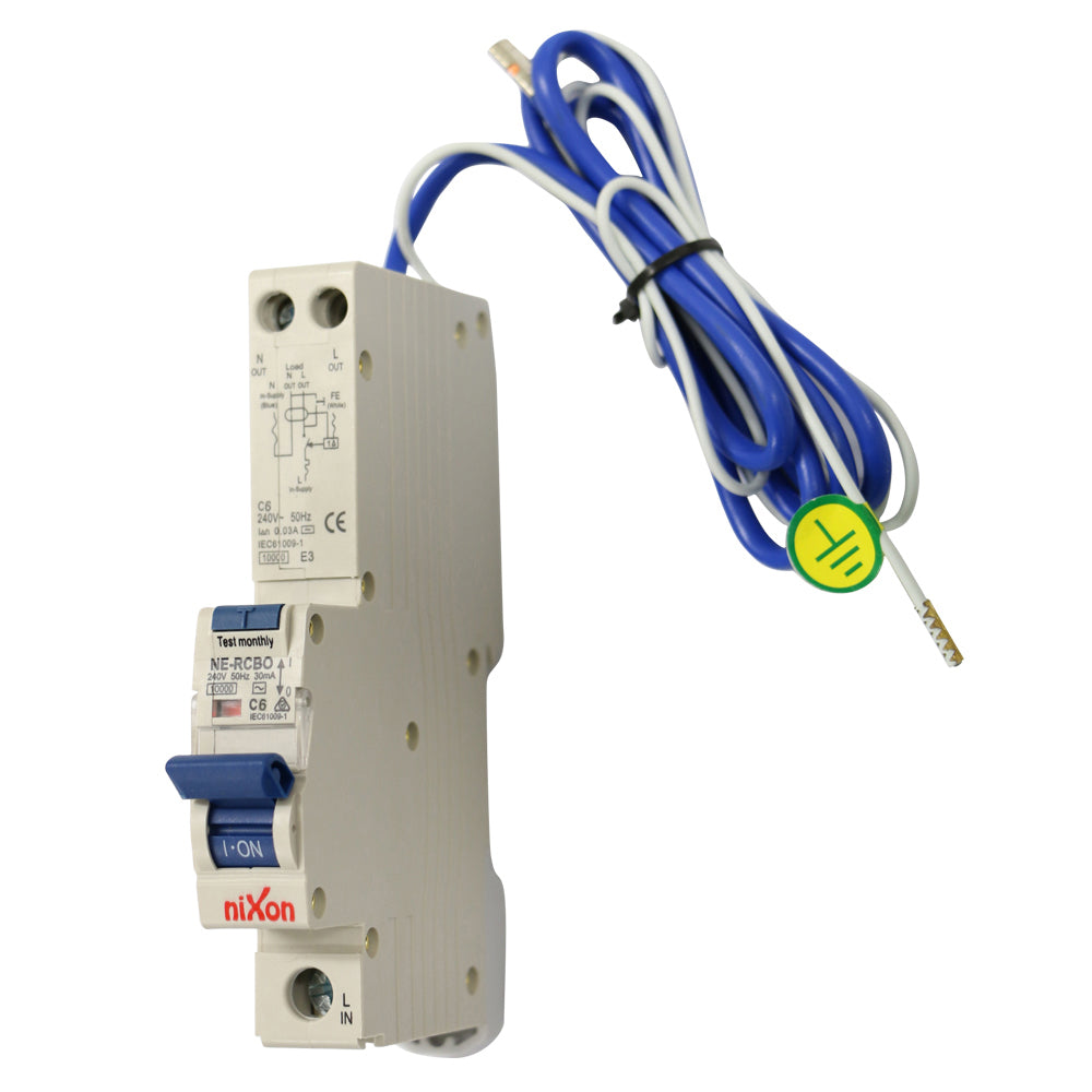 6AMP - RCBO with tail Single Module 10kA C Curve