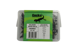 Gecko - Zinc Wall Anchor - 100 Pack
