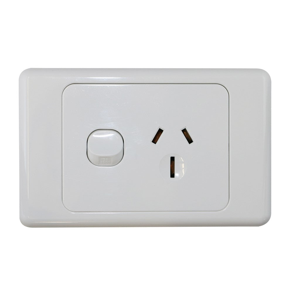 Single 15Amp Powerpoint / GPO Outlet