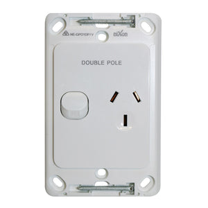 Single Vertical 10Amp Powerpoint / GPO Outlet - DOUBLE POLE