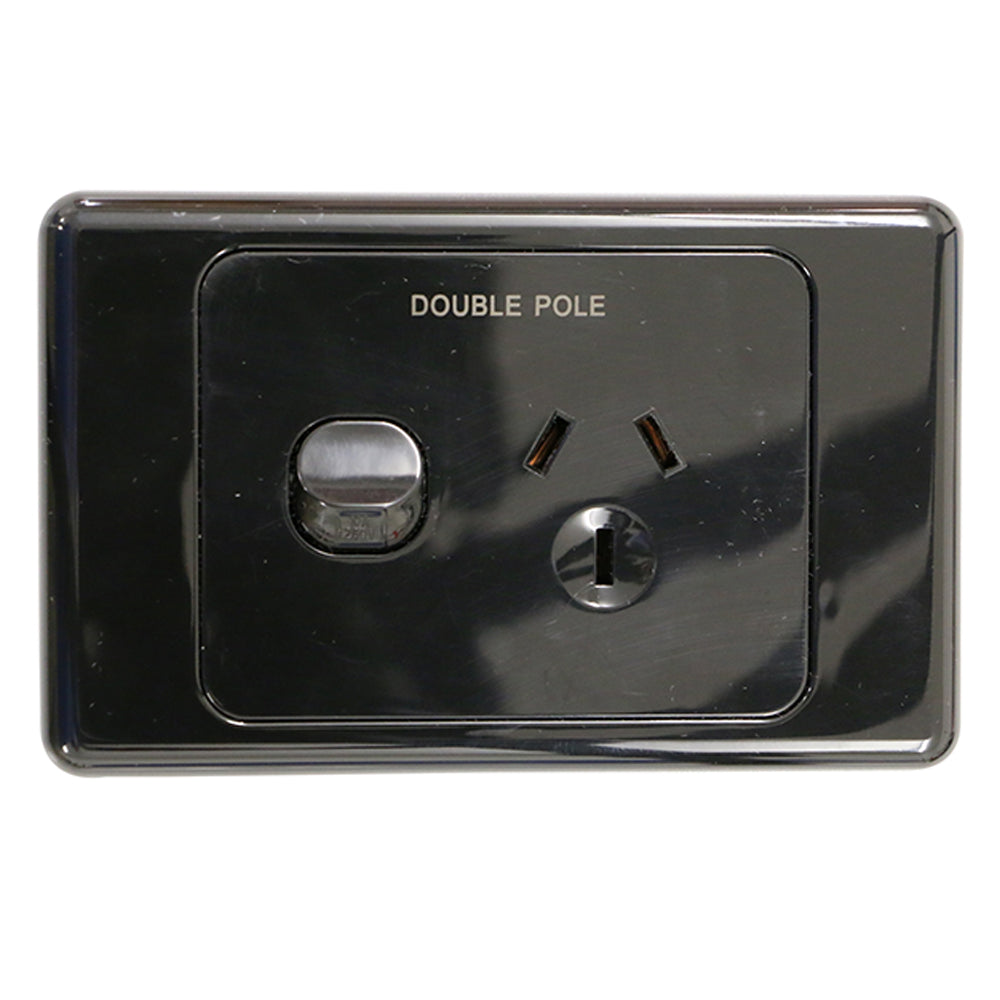 Single 10Amp Powerpoint / GPO Outlet - DOUBLE POLE - Black