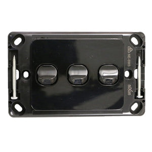 3 Gang - Wall Switch - Black