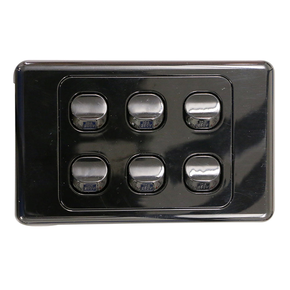 6 Gang - Wall Switch - Black