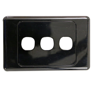 3 Gang - Wall Plate - Black