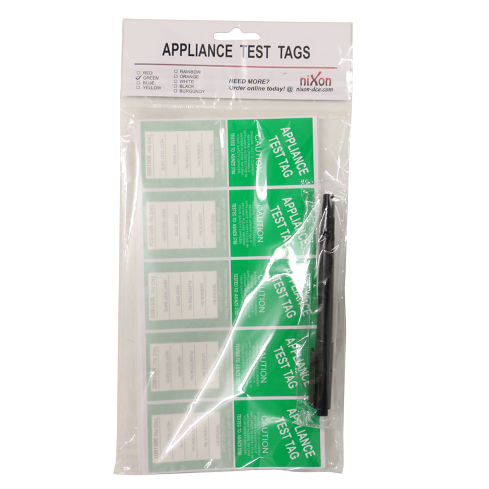 Green Test Tags - 100 Pack
