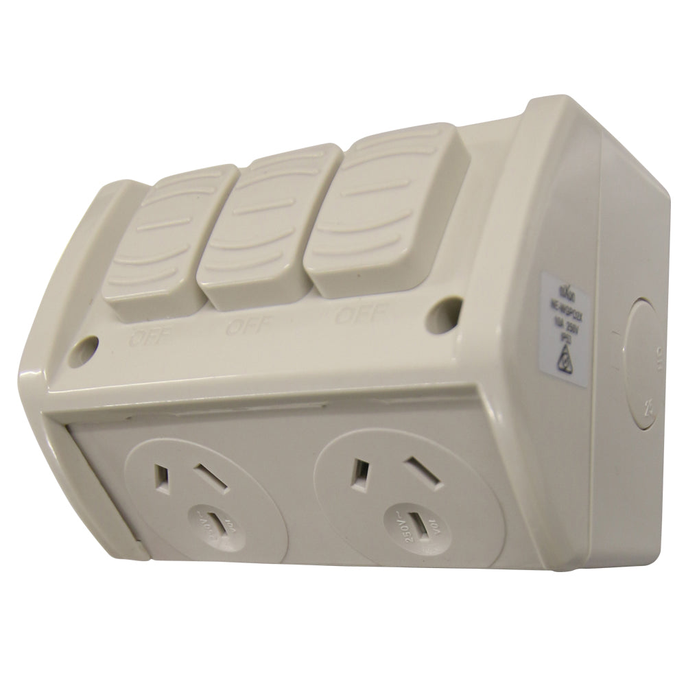 10AMP - Double Weatherproof Outlet with extra Switch - IP53