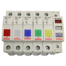 Load image into Gallery viewer, Red, White, Blue Din Rail LED Neon Indicator