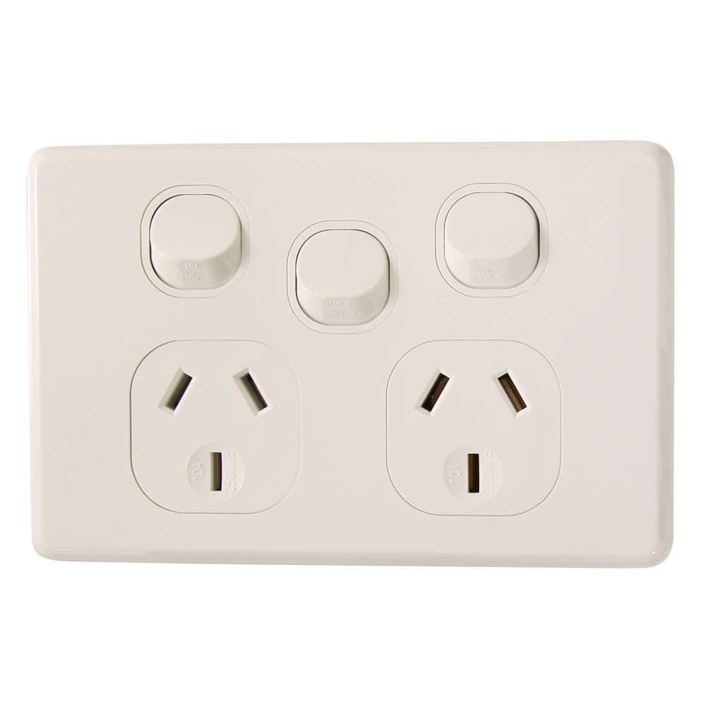 Classic Double 10Amp Powerpoint / GPO Outlet with extra Switch