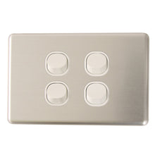 Load image into Gallery viewer, Classic 4 Gang - Brushed Aluminum Cover Plate