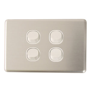 Classic 4 Gang - Brushed Aluminum Cover Plate