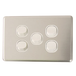 Classic 5 Gang - Brushed Aluminum Cover Plate