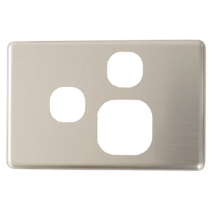 Classic Single Powerpoint with extra switch - Brushed Aluminum Cover Plate