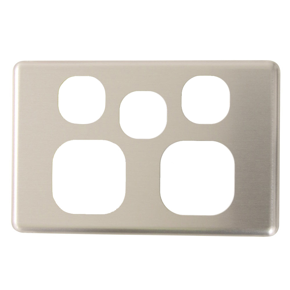 Classic Double Powerpoint with extra switch - Brushed Aluminum Cover Plate