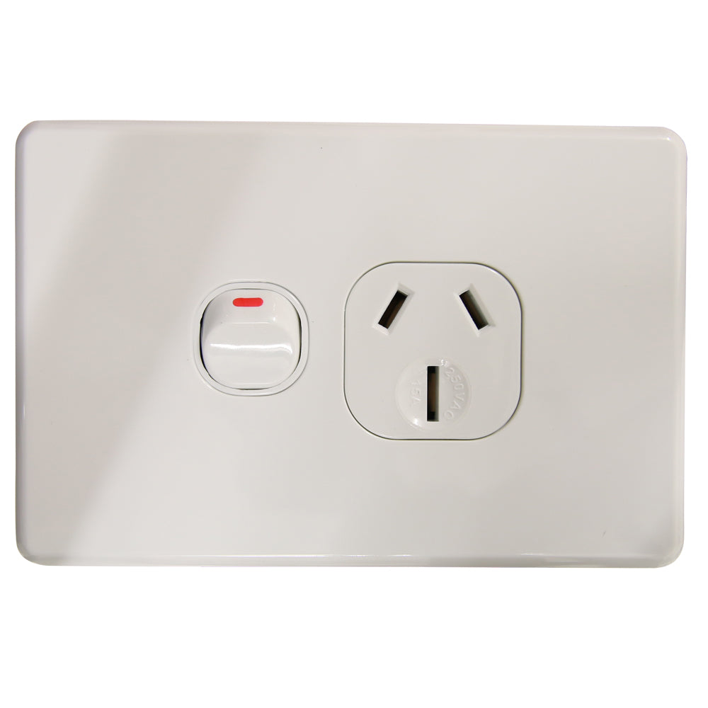 SLIM - Single 15Amp Powerpoint / GPO Outlet