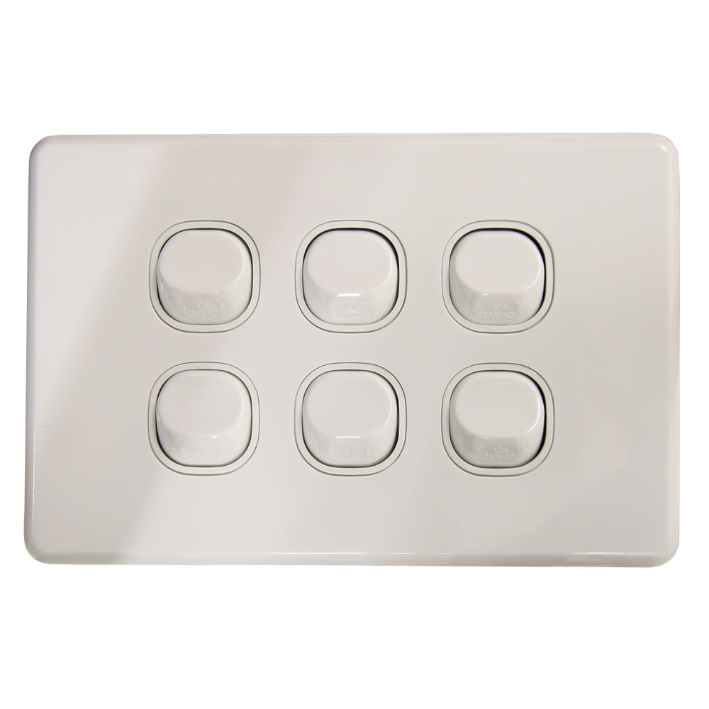 SLIM - 6 Gang Wall Switch