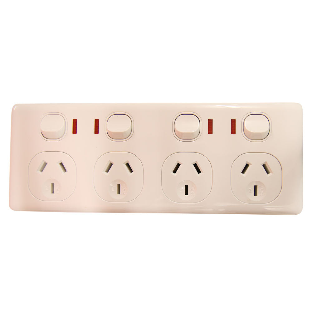 QUAD 10Amp Powerpoint / GPO Outlet - Double Pole - WHITE - With Neons