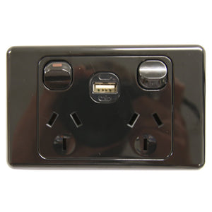 Original Double 10Amp Powerpoint with Powered USB 2.1AMP BLACK