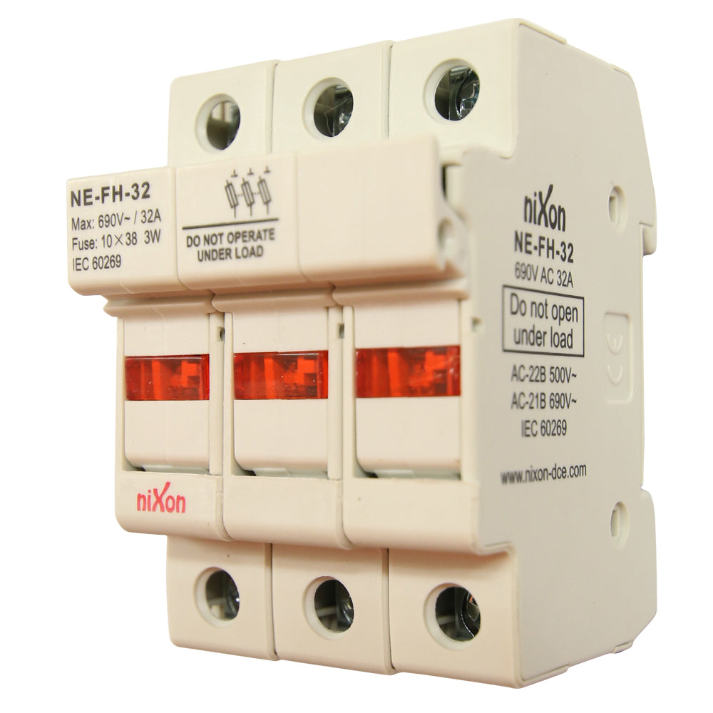 AC Fuse Holder - 32AMP - 3Pole - Din Rail