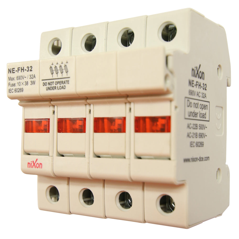 AC Fuse Holder - 32AMP - 4Pole - Din Rail