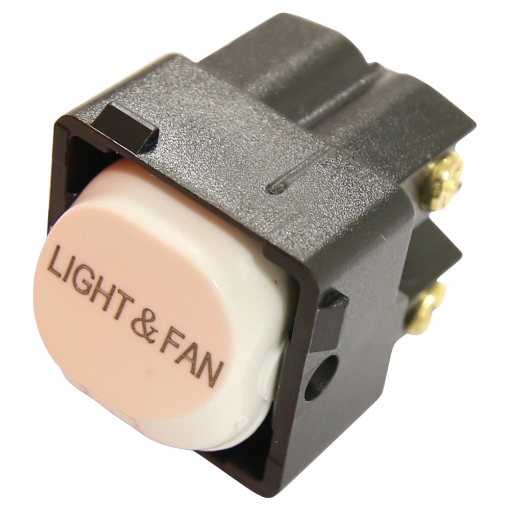 White Switch Mechanism 250V 10AMP Double Pole - LIGHT FAN Printed