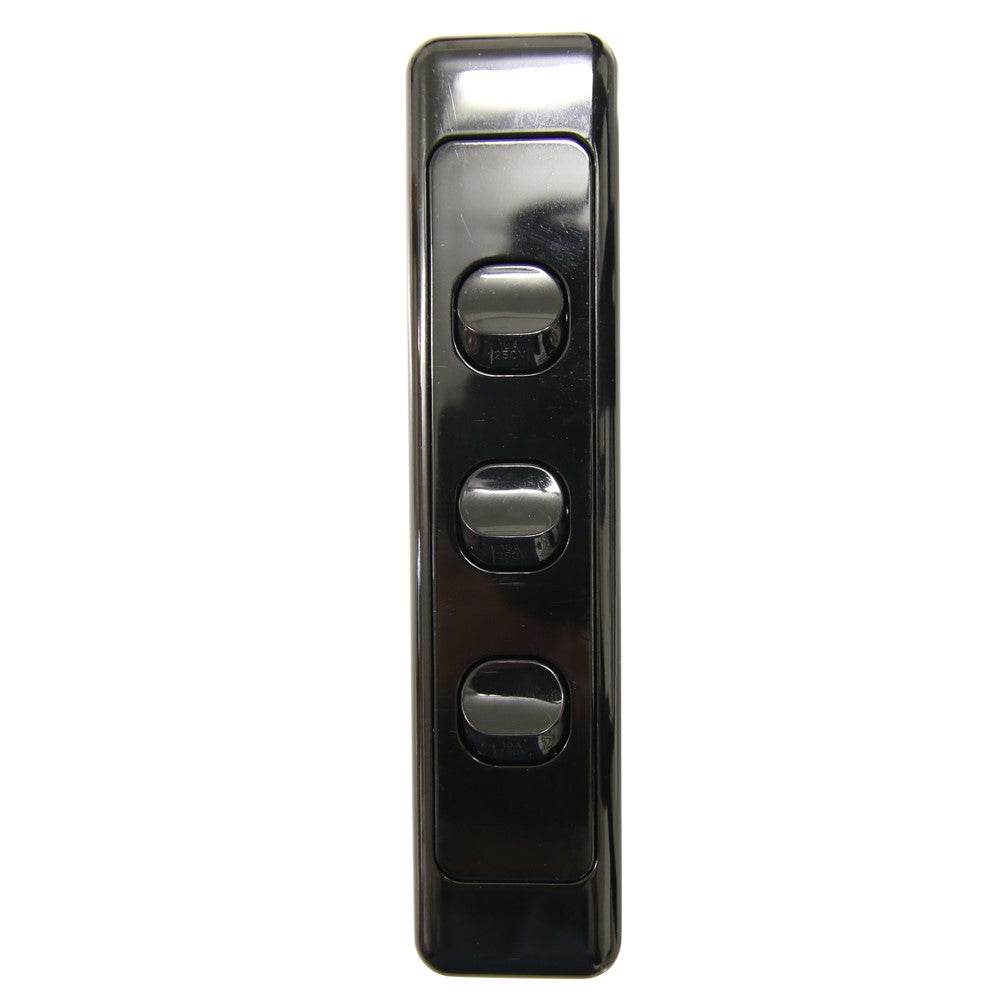 3 Gang  - Architrave Switch - Black
