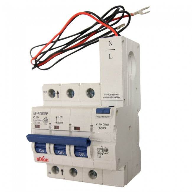 10AMP - 3 Pole RCBO for Panel Boards 10kA C Curve