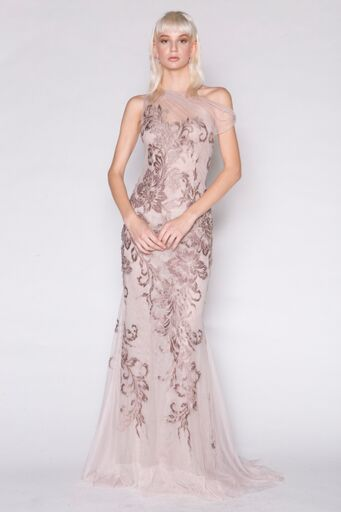 1-Shoulder Baroque Beaded Tulle Gown