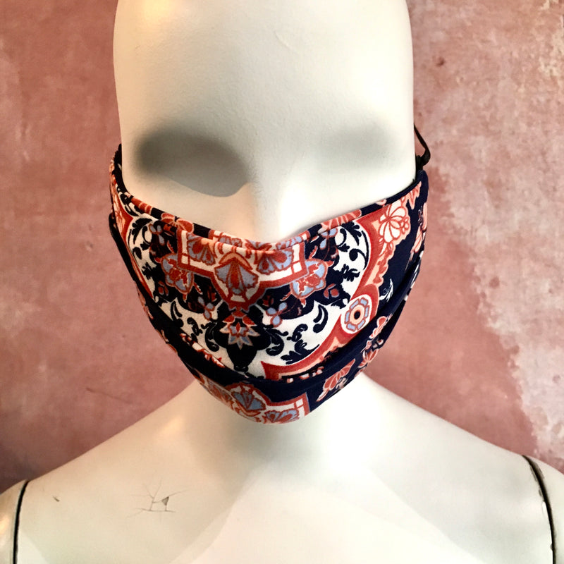 Persian tile knit pleated face mask with inside pocket