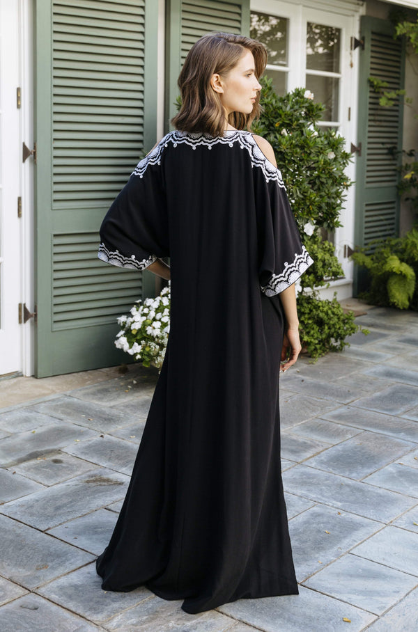 Cold Shoulder Black Caftan