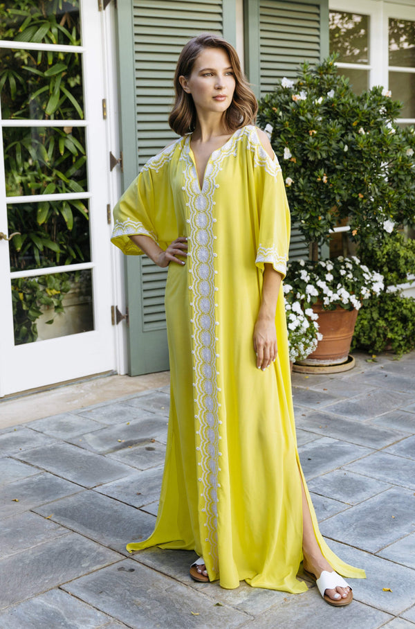 Cold Shoulder Yellow Caftan