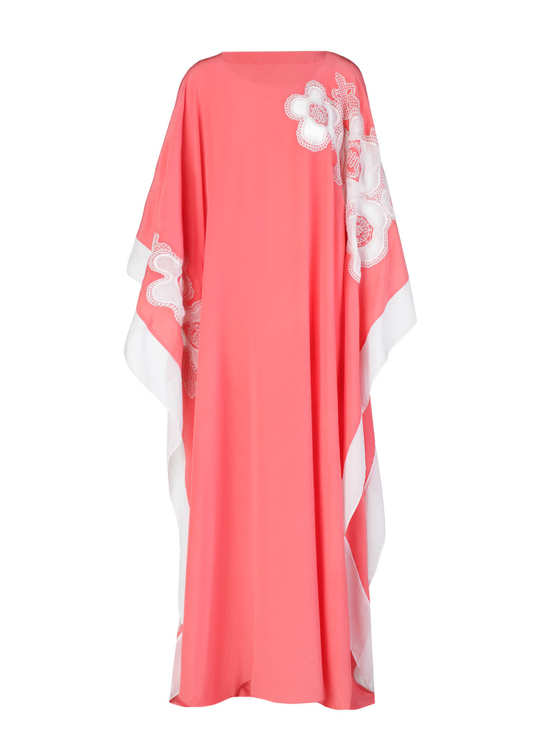 Silk Floral Applique Caftan