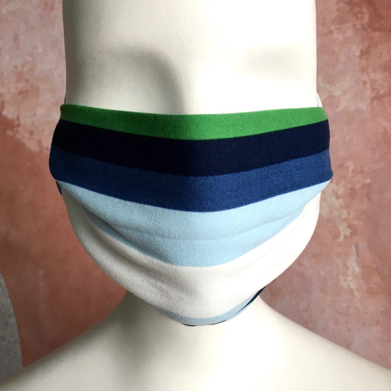 Designer Face Mask with Filter Pocket - Blues, Green, White Stripe