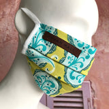 Designer Face Mask with Filter Pocket - Lime & Turquoise Paisley Print