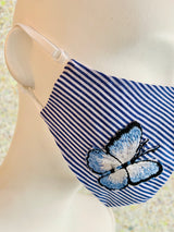 Fitted Blue & White Stripes Butterfly Applique Mask with Adjustable Earloops