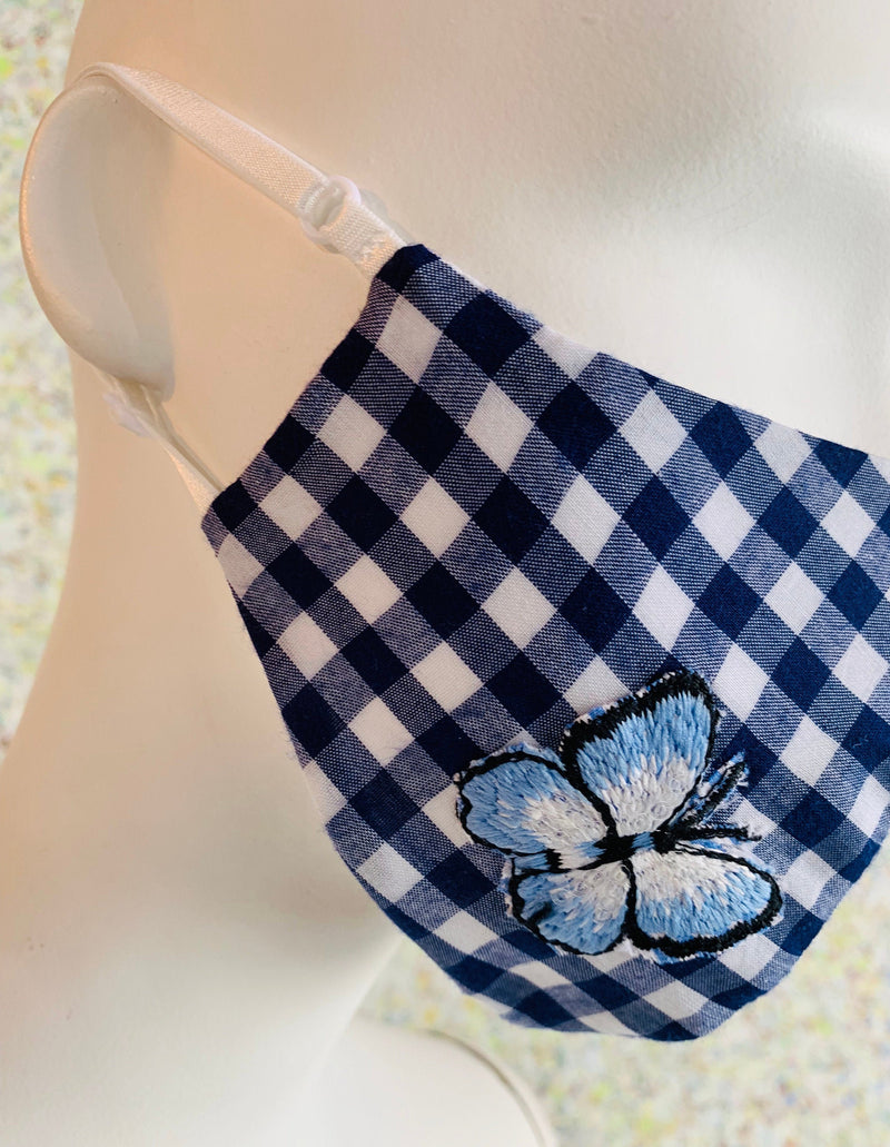 Navy & White Check with Butterfly Applique