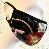 Fashion Fitted Mask with Filter Pocket - Fancy Embroidered Flowers on Black Sequins