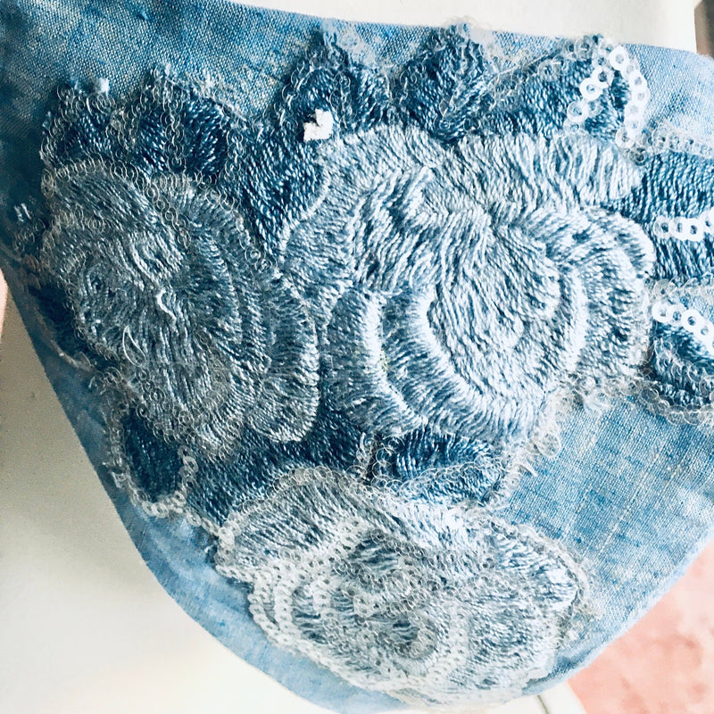 Chambray Blue with Lace Applique