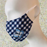 Fashion Fitted Mask with Adjustable Earloops - Navy & White Check with Butterfly Applique