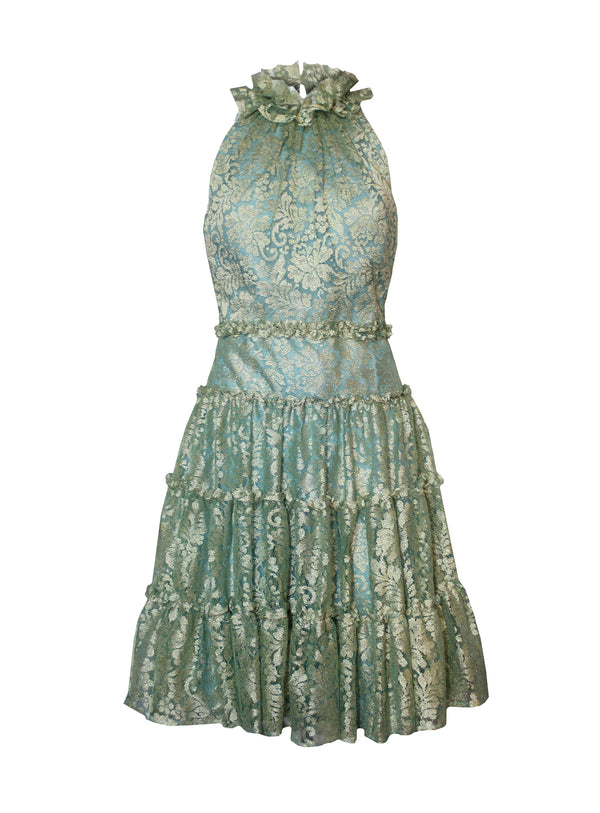 Tiered Halter Dress, jade/gold metallic lace