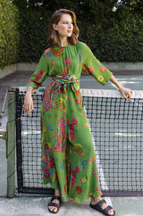 Silk Paisley Jumpsuit with Self Belt