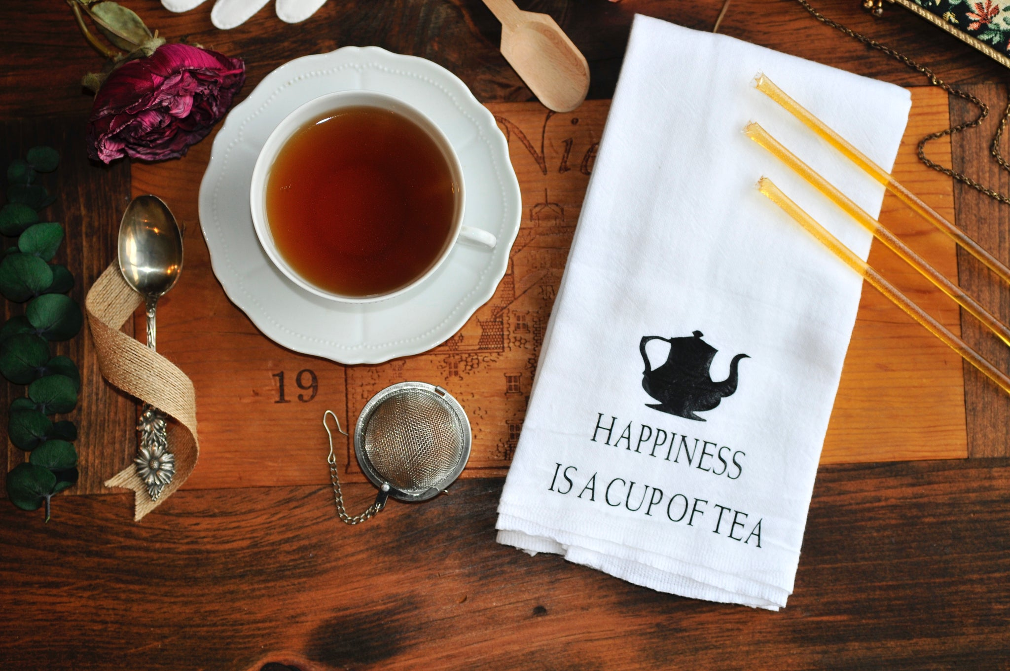 Happiness is a cup of Tea - Tea Towel