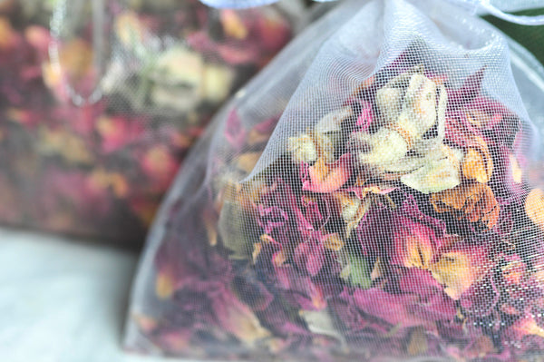 24 | WEDDING or BRIDAL FAVORS | Custom Organic Rose Sachets | Organza Toss Bag