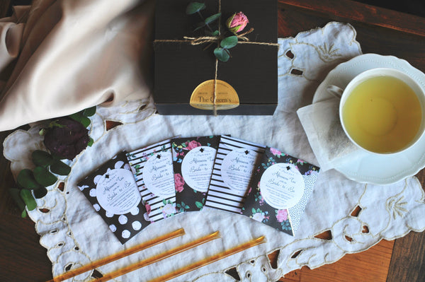 CUSTOM TEA FAVOR | Floral & Stripes | Assembled Artisan Handcrafted Tea Favors